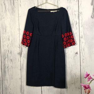 Trina Turk Blue Dress Bell Sleeve Flower Detail 12